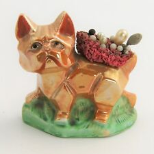 VINTAGE MADE IN JAPAN  LUSTERWARE LUSTER LUSTRE ART DECO CAT OR DOG PIN CUSHION