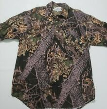 Columbia Hunting Med Camo Vented Shooting S/S Button Front Cotton Fishing Shirt