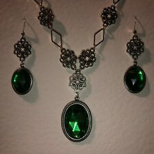 LACY FILIGREE VICTORIAN STYLE new EMERALD GREEN SILVER PL NECKLACE EARRINGS SET