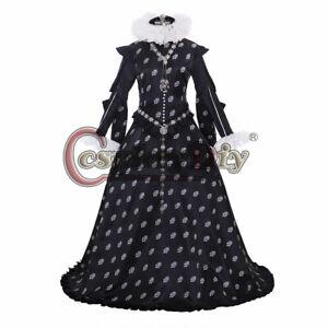 Tudor Queen Elizateth Cosplay Costume Medieval Renaissance Black Ball Gown Dress