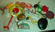 old Dime Store grab bag toy LOT spinner top Golf Eraser Cracker Jack junk drawer