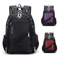 """Men's Black Travel Rucksack Shoulder 18"""" Laptop Backpack Hiking Swiss School Bag"""