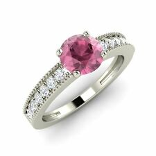 Certified 1.26 Ct Natural Pink Sapphire & Diamond Engagement Ring 14K White Gold