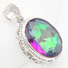Solid Vintage Silver Oval Shaped Rainbow Mystic Topaz Gems Necklace Pendants