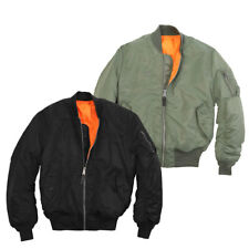 Boys Classic MA-1 Heavy Brass Zip Reversible Orange Flight Pilot Bomber Jacket