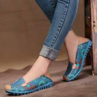 New Women genuine leather shoes Flower loafers slip on ballet flats Casual Shoes