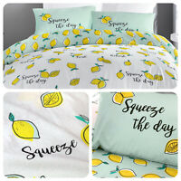 Fusion LEMONS Yellow Pastel Easy Care Duvet Cover Set
