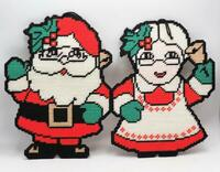 Christmas Embroidered Decoration Santa Claus Mrs. Claus Vintage
