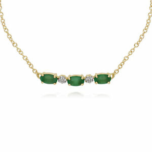 Gemondo 9ct Yellow Gold Emerald and Diamond Five Stone 19cm Bracelet