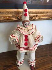 """Clown doll porcelain """"POM POM THE CLOWN"""", FAITH WICK for ENESCO, 1983"""