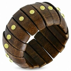 Stretch Bracelet Wood With Section Oval Metal With Fashion