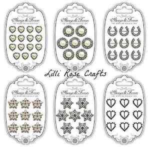Craft Consortium Wedding Embellishment Charms - Horseshoe - Heart - Diamante