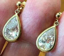 SOLID 14k Yellow gold ~ 5 Carat Teardrop dangle earrings White Sapphire