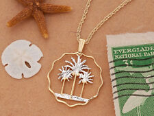 "Palm Tree Pendant & Necklace, Iraq Hand Cut Coin ,1"" in diameter ( # 433 )"