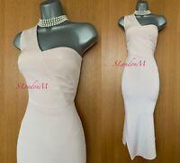 Karen Millen UK 10 Light Pink Royal One Shoulder Asymmetric Hem Cocktail Dress