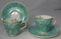 WEDGWOOD china WILDFLOWER GREEN wd3999 pattern DEMITASS CUP & SAUCER Set of TWO