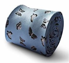 light baby blue mens tie with silver butterfly design FT3345