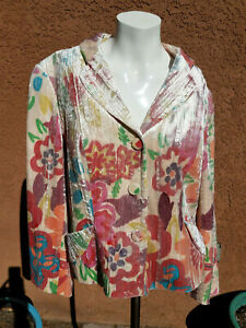 Alberto Makali Crushed Velvet Blazer Jacket Pastel Flowers Floral Size 12 Sz 12