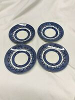 Set of 4 Vintage Churchill England Blue Willow Porcelain Tea Saucers 5 1/2""