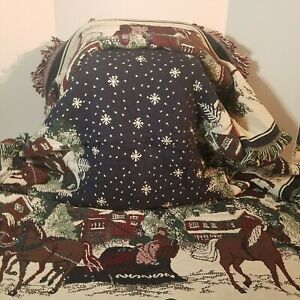 American Sleigh Ride, Christmas Tapestry Throw Blanket, 70 x 50, Goodwin Weavers