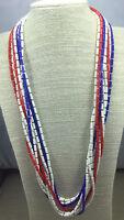Vintage Necklace Fused Plastic Patriotic red White & Blue Long Flapper Goldtone