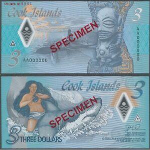 Cook Islands - 3 Dollars 2021 UNC SPECIMEN Polymer Lemberg-Zp
