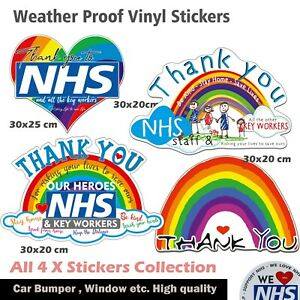 Rainbow Window vinyl Sticker collection of 4 Thanks  NHS&Key workers Window,Car
