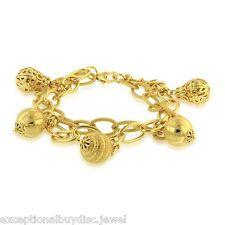 14K GOLD & BZ SPARKLE BALL DIAMOND CHARM BRACELET SZ 8 INCH ADJ  ITALIAN 25 GR