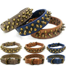 Large Retro anti-bite Spiked Studded Rivet PU Leather Dog Pet Puppy Collar