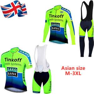 Men Team Cycling Kit Bike Clothing Short Long Sleeve Jersey Padded Gel Bib Short