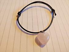 Corazón de Cuarzo Rosa Pulsera Colgante de piedras preciosas de cordón de algodón Reino Unido