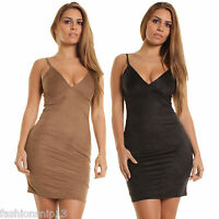 New WOMENS Ladies Mini DRESS Cami Party BODYCON FAUX SUEDE 8 10 12 14