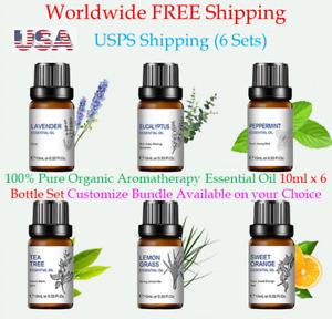 Essential oil Aromatherapy 6 x 10ml 100% Pure Organic Diffuser massage Oil set