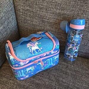 Smiggle Girls Unicorn Lunch Bag Sandwich Box + Water Drinks Bottle Blue FAR AWAY