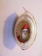 """Christmas Tree Plastic Ornament, Shadow Box, Paper Santa, 4""""x2.25""""  Retro"""