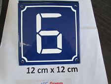 Hausnummer Digital Nr. 6  weiße Zahl - Blauer Hintergrund 12 cm x 12 cm  Emaille