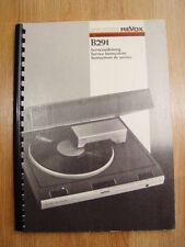Studer Revox B291 Plattenspieler Service Manual