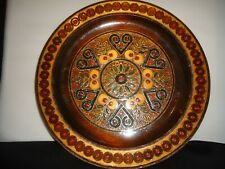 antique  carved wood plate wall  decoration  .hand made cloisonne style color.