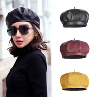 Women French Leather Beret Beanie Skull Cap Vintage Army Navy Top Hat