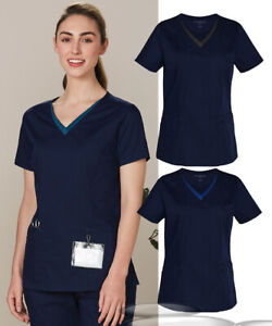 Ladies Scrubs Top Medical Beauty Health Care Nurse Spa Sizes XXS-5XL V Neck