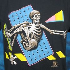 vintage 80s SKELETON SKATEBOARD PAPER THIN T-Shirt SMALL surf skate rock cartoon