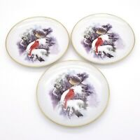 3 Vintage Red Cardinal Yellow Cardinal Birds on Snow Covered Branch 6.25 Plates