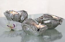 59227 Porte-bougies Coquillage de Poly argent en Finition antique 10cm