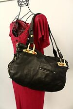 B. MAKOWSKY Black Pebble Leather Satchel Shoulder Bag Handbag Purse GUC