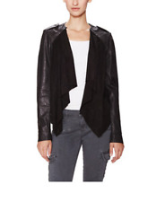 NWT MUUBAA BLACK LUPUS LEATHER SKINNY SUEDE DRAPED BIKER JACKET US 10 M-L UK 14