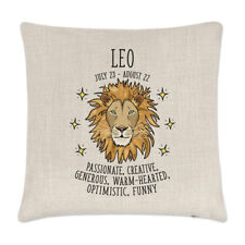 Leo Horoscope Linen Cushion Cover Pillow - Horoscope Star Sign Zodiac Birthday