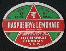 1950s Bottle Label Raspberry Lemonade Tocumwal Cordials Tocumwal NSW Australia