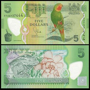 FIJI 2013 year 5 dollars Polymer BrandNew Banknotes