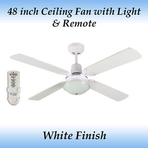 Fias Ramo White 4 Blade Ceiling Fan with Light and Remote