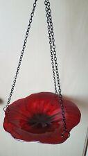 Red Poppy  Glass Birdbath Fountasia Hanging